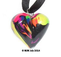 Neon swirl 3d heart ornament