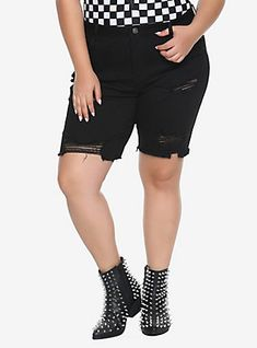 7033c98bca Blackheart Indigo Fishnet Inset Shorts Plus Size in 2019