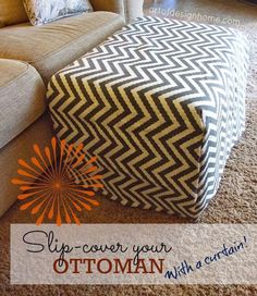 Tutorial on using a chevron curtain panel to make a slip-cover for your ottoman.