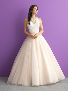Allure  With a jewel encrusted collar, lace bodice and sweeping train - this ballgown is unforgettable.