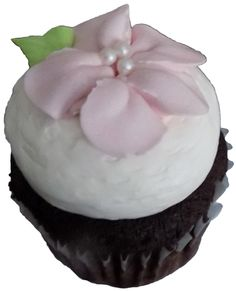 Chocolate cupcakes, filled with raspberry buttercream, topped with vanilla buttercream and decorated with pink blossom vanilla buttercream flowers - cupcakes York PA