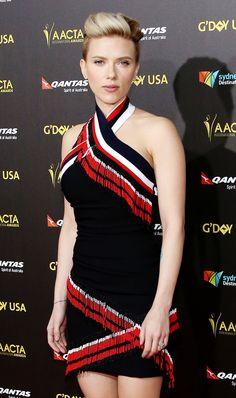 Rock your pixie hair like Scarlett Johansson. It's elegantly boyish!