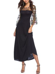 Shop Plus Size Dresses - Women Plus Size Floral-embroidered Paneled A-line Solid Party Evening Maxi Dress online. Discover unique designers fashion at Modmiss.com.
