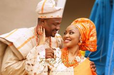 BellaNaija Bride Annette  & Groom Gerald Photography by Stanlee Ohikhuare & Persnickety  Fabrics by Tisbee Aso Oke Nigerian Wedding Makeup yoruba wedding coral beads naija bride gele aso oke groom fila agbada