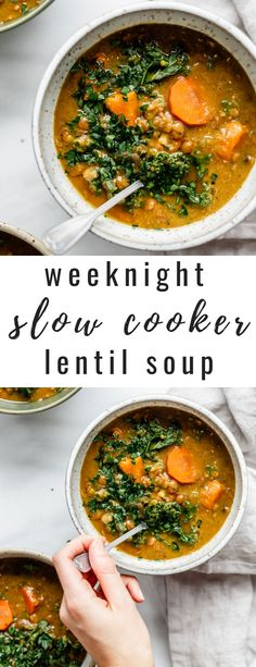This weeknight slow cooker lentil soup recipe is made in a crockpot for an easy and hassle-free dinner! [Vegan & gluten-free] This weeknight slow cooker lentil soup recipe is made in a crockpot for an easy and hassle-free dinner! Slow Cooker Lentil Soup, Vegan Lentil Soup, Vegan Slow Cooker, Lentil Soup Recipes, Healthy Crockpot Recipes, Vegetarian Recipes, Easy Lentil Soup, Weeknight Recipes, Slow Cooker Soup Vegetarian