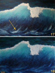 step by step painting breaking wave