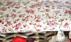 Off white cotton with dark red floral print 138cm x 45cm I Sewing I Fabric I Floral fabric I Red floral fabric I Quilting I Patchwork I DIY by SixthCraft on Etsy
