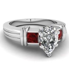 1.15 Ct Pear Shaped Diamond & Ruby Engagement Ring Cut:Very Good SI1 F-Color GIA 14K
