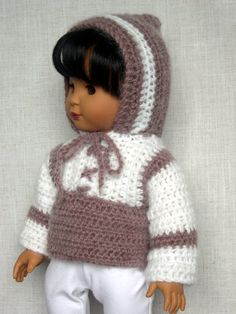 "AG Doll Clothes Handmade outfit made to fit 18"" dolls like American Girl Gotz doll Alicia is modeling a crochet sweater made using a doll crochet pattern from Morrissey (made by Barb Marlee)"