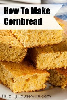 Here's simple cornbread recipe you can make from scratch. As frugal as it is good and perfect with chili, soup or stew. Cornbread Recipe From Scratch, Easy Cornbread Recipe, How To Make Cornbread, Cornmeal Cornbread, Cornmeal Recipes, Friendship Bread Recipe, Best Homemade Bread Recipe, Easy Holiday Recipes, Frugal Recipes