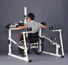 This device is made for someone who is in a wheelchair. It is an adaptive piece of equipment designed to develop muscular strength Muscular Strength Exercises, Adapted Physical Education, Quadriplegic, Wheelchair Accessories, Powered Wheelchair, Adaptive Equipment, Mobility Aids, Spinal Cord Injury, No Equipment Workout