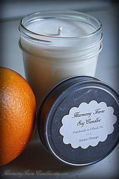 Sweet Orange soy wax candle from HarmonyFarmCandles.etsy.com