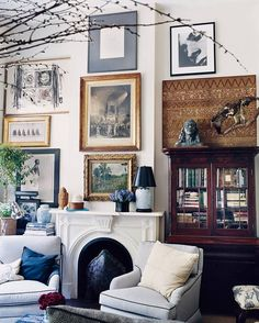 Taupe and White and Wood Living room