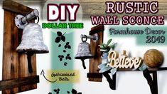 Dollar Tree Diy Rustic Wall Sconce Bells Farmhouse Home Decor 2019 Youtube Diy Rustic Wall Dollar Tree Diy Rustic Diy