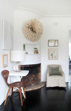 chairs help balance the corner fireplace \\ Megan Morton's home via The Design Files House Design Photos, Cool House Designs, Modern House Design, Home Design, Design Ideas, Design Inspiration, Decor Interior Design, Interior Decorating, Modern Interior