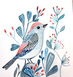 Hey, I found this really awesome Etsy listing at https://www.etsy.com/listing/186558201/blue-bird-blue-flowers-red-berries