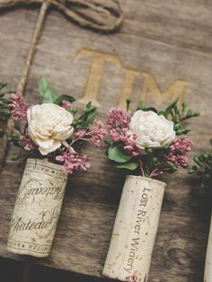 Vintage Wine wine cork boutonniere - wine themed wedding, this is the post for you! We'll tell you the best wine themed wedding venues, share our favorite guest book alternatives, Boutonnieres, Sola Flowers, Wedding Flowers, Wedding Dresses, Wine Cork Wedding, Wedding Wine Theme, Perfect Day, Corsage Wedding, Wine Cork Crafts