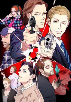 Anime style Supernatural fanart my fav part is Deans eyelashes Supernatural Destiel, Supernatural Drawings, Supernatural Wallpaper, Castiel, Supernatural Bunker, Supernatural Tattoo, Supernatural Imagines, Anime Style, Sherlock