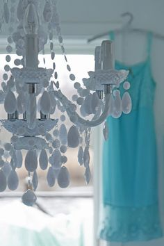 VINTAGE painted chandelier - bobeches with jewels hanging off.