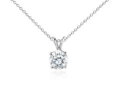 We're Dreaming Of This Diamond Solitaire Pendant in 18k White Gold! | #Jewelry #Fashion #Diamond