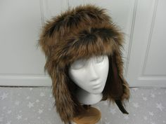 Adult TRAPPER HAT made of spotted wolf faux fur Fur by HotHats, $33.95