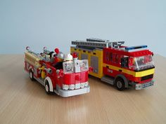 My two minifig scale fire engines side-by-side, a classic US pumper truck based on a Mack from the 'fifties and a modern day UK engine based on the Mercedes trucks used by the London fire brigade. Lego Ambulance, Lego Village, Lego Fire, Mercedes Truck, Lego City Police, Lego Construction, Cool Lego Creations, Lego Toys, Truck Design