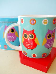Love these kawaii Owl coffee mugs, cute!