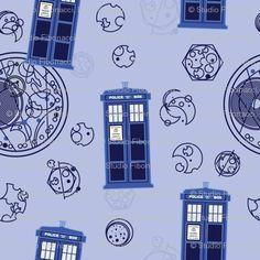 DOCTOR WHO TARDIS AND GALIFREYAN ALPHABET FABRIC -- MUST HAVE