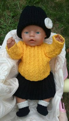 Your place to buy and sell all things handmade Double Knitting, Hand Knitting, Acrylic Wool, Baby Born, Knitted Dolls, Doll Clothes, Crochet Hats, Black And White, Yellow