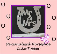 PERSONALISED wedding cake topper - silver acrylic mirror - HORSESHOE design