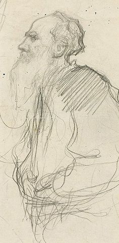 Leonid Pasternak (1862-1945) - portrait of Tolstoy - charcoal on paper, late 1890's