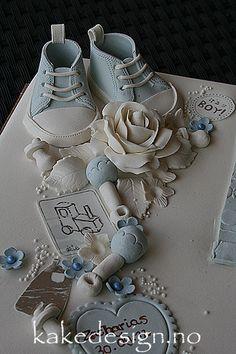 kakedesign: scrappet dåpskake i blått og brunt Cakes, Baby, Wedding, Valentines Day Weddings, Mudpie, Cake, Newborns, Weddings, Pastries