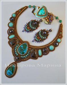 """Enchanted Lake"" Beaded Statement Bib Necklace and Earrings by Marina Nasyrova"