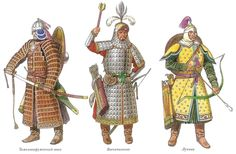 Various warriors from history. Historical Concepts, Historical Art, Historical Pictures, Medieval Armor, Medieval Fantasy, Dark Fantasy, Good Knight, Golden Horde, Military Costumes