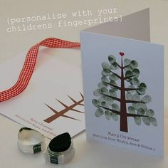 Children's Fingerprint Christmas Tree Cards by Love Those Prints, the perfect gift for Explore more unique gifts in our curated marketplace. Christmas Tree Branches, Christmas Tree Cards, Christmas Holidays, Christmas Baubles, Diy For Kids, Crafts For Kids, Childrens Christmas, Christmas Crafts, Christmas Ideas