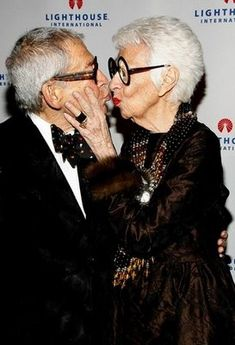 91 year old Iris Apfel and husband.  Love at every age.
