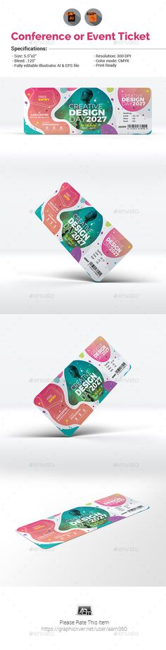 Conference / Event Ticket Template Vector EPS, AI Illustrator