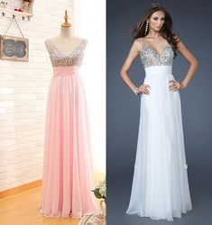 Handmade Beaded V-neck Pearl Pink Prom Dress,Beaded Party Dress,Long V-neckline Evening Dress