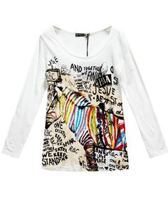 Chicnova Graffiti Zebra Print T-shirts with Long Sleeves
