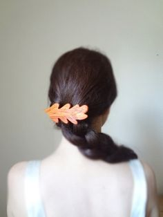 The leaf fairy pink rosewood  barrette by theancientmuse on Etsy, $32.00