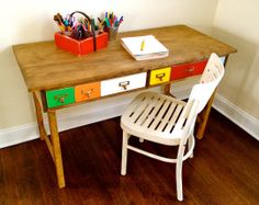 A Colorful Kids Table Knock Off That's My Letter - I, too, have a crush on Pottery Barn Kid's colorful, old school Brunswick table, but I don't know that I have the DIY wherewithal to create my own version like Jaime of that's my letter did. MORE