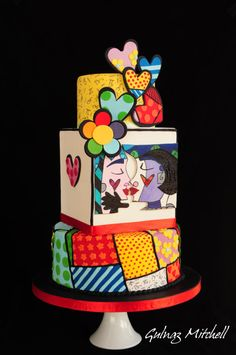 """Sweetheart""cake inspired by Romero Britto - Cake by Gulnaz Mitchell 