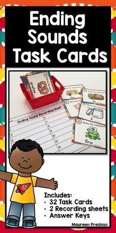 Ending Sound Task Cards are a great way to practice sound discrimination skills.  These can be used in Literacy Centers, for Scoot, Roam the Room, Small Intervention Groups, Scavenger Hunt, or Whole Group Instruction.