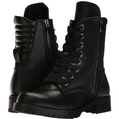 Capezio Flat Combat Boot (Black) Women's Shoes (225 BRL) ❤ liked on Polyvore featuring shoes, boots, combat boots, black quilted boots, lace up combat boots, black boots, black flat boots and flat boots