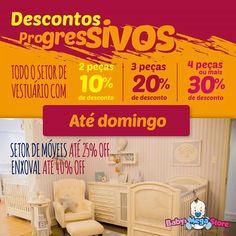#Promoções até domingo! A Baby's MegaStore oferece duas grandes oportunidades 😍😍 para renovar ou comprar o enxoval do seu bebê!!!   --- 📍 Todo o setor de vestuário com descontos progressivos:  Quanto mais você compra, mais desconto ganha!!! % Compre 2 peças e ganha 10% de desconto! %% Compre 3 peças e ganhe 20% de desconto!! %%% Compre 4 peças ou mais e ganhe 30% de desconto!!!    --- 📍 Descontos* em todo o setor de Móveis com até 25% OFF e Enxoval com até 40% e 30% OFF!!  👉 São…