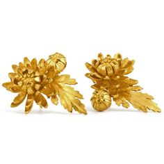 Chrysanthemum Flower, Leaf and Bud Cluster Stud Earrings