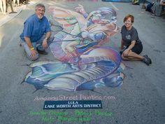 Napoleon Bonafish - 3D chalk art at Lake Worth Street Painting Festival, 2015. Art is 12' x 27' and took 22 hours to complete. #3Dchalkart #streetart #chalkart #sidewalkchalkart