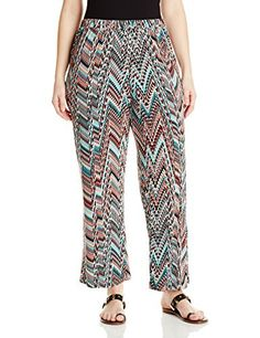 Karen Kane Women's Plus-Size Pant, Print, 1X *** Click image to review more details.