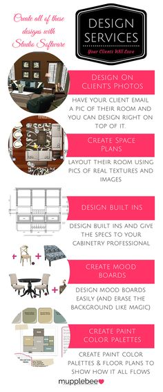 Design Services you can offer that can all be created by one piece of software, easily. http://www.mupplebee.com/interior-design-software-for-the-coolest-interior-designers/ #interiordesignsoftware #interiordesigner