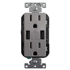 Power electronics fast with a USB wall charger outlet. Duplex 15A receptacles with 3.6A USB ports. Shop wallplates, switches, quick ship - Kyle Switch Plates.